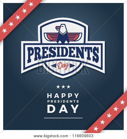 Presidents day sign on a dark blue background