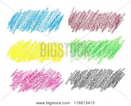Set of colorful crayon strokes isolated over the white background