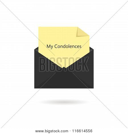 black envelope with my condolences inscription on yellow sheet