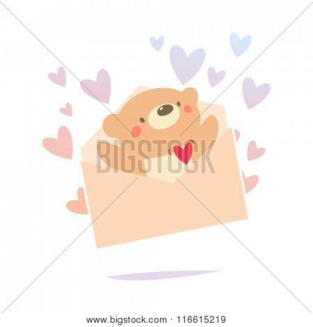 Valentine card Teddy bear inside the love letter