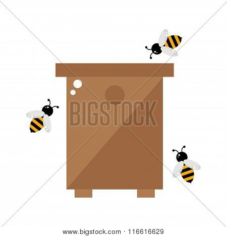 Bee hive isolated icon on white background.