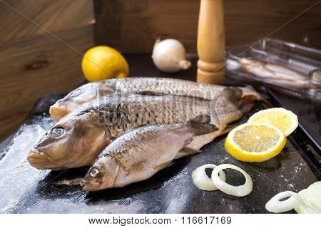 Fresh Carp Fish With Spices And Lemon