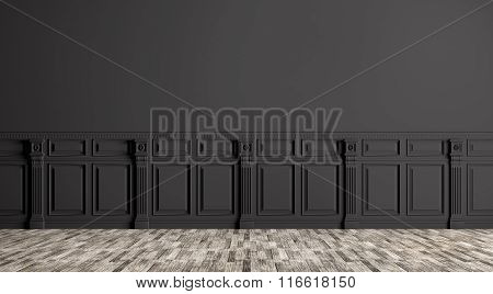 Black Classic Interior Background 3D Render