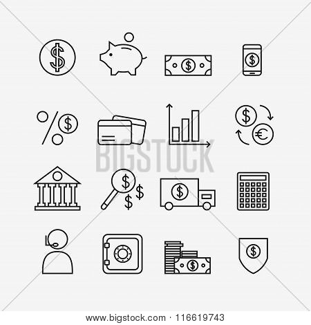 Finance icons isolated on background.