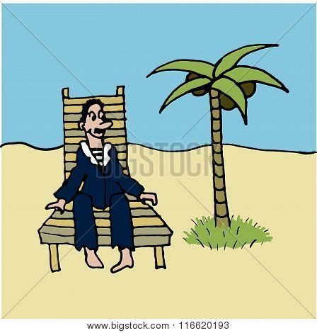 sailor in blue vest and relaxing in a deckchair on the beach under a palm comic vector illustration