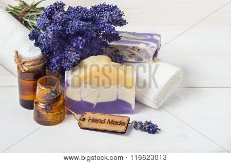 Lavender Handmade Soap And Accessories For Body Care (lavender, Soap, Towel, Oil )