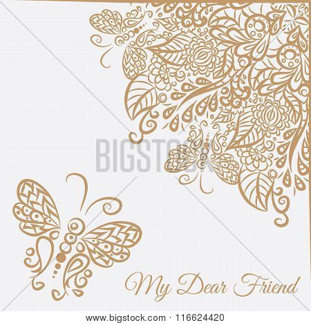 Vector Card. White Background And Brown Ornament.