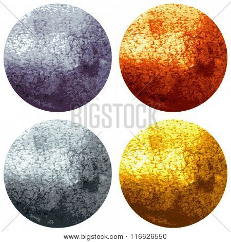Golden, Bronze, Silver and Metal Bright Glowing Circles isolated on white Background. Vector Illustration
