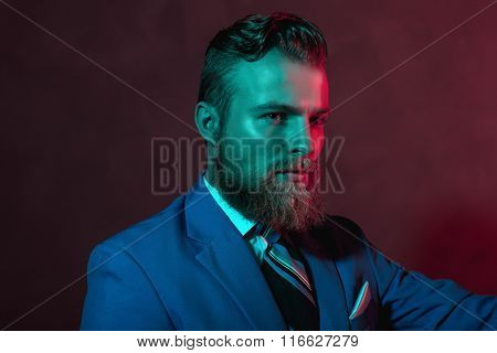 Stern Bearded Handsome Man