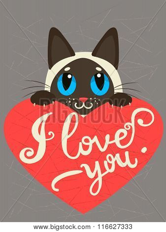 Enamored siamese cat with heart and text I Love You.