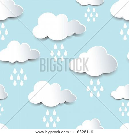 Seamless background of fluffy rain clouds, paper cutout with shadow effect. EPS10 vector format.