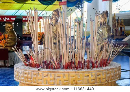Joss Sticks With A Lot Of Smoke, Burning Incense In Thai-chinese Mixed Temple