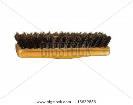 Old Clothes (or Shoe) Brush With Wooden Handle Isolated On The White Background