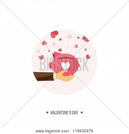 Vector illustration. Flat background with piggy bank. Love, hearts. Valentines day. Be my valentine.