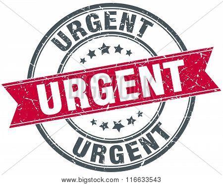 Urgent Red Round Grunge Vintage Ribbon Stamp