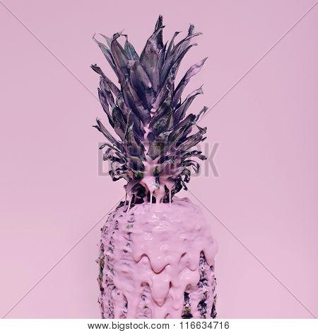 Minimalism Style Fruit. Fashion Pineapple And Pink Paints Metamorphosis