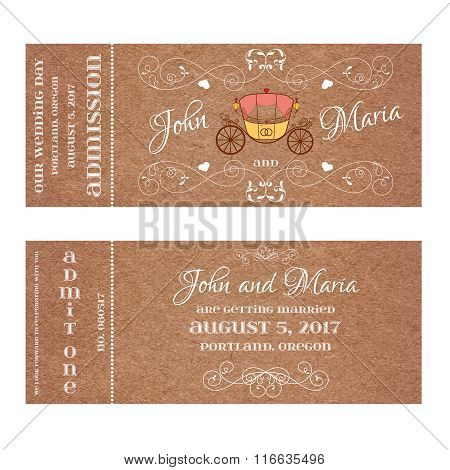 Ticket for Wedding Invitation with retro carriage.