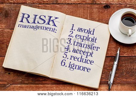 risk management strategies (avoid, exploit, transfer, accept, reduce,ignore) - handwriting in an old notebook with a cup of coffee