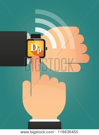Hand Pointing A Smart Watch With A Drachma Currency Sign