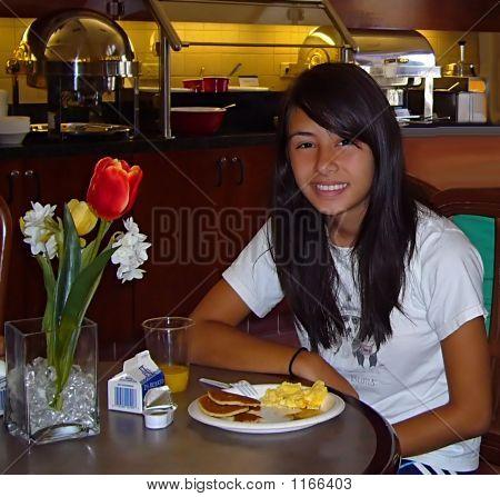 Pretty Girl At Breakfast