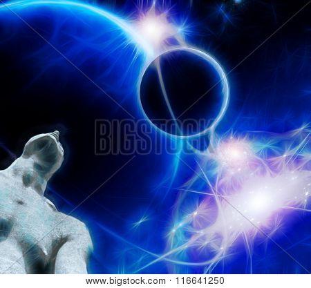 Figure gazes upward toward ringed planets