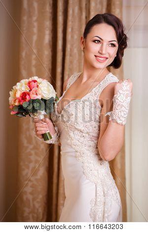 Bride And Her Wedding Bouquet
