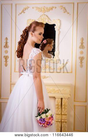 Bride In Long White Beautiful Dress