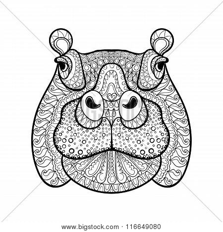 Hand drawn tribal hippopotamus head, animal totem for adult Colo