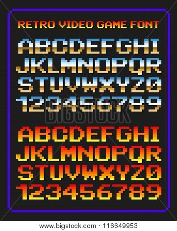 Vector illustration of retro video game letters and numbers in pixels poster