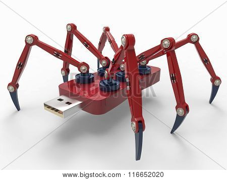 Red Robot Usb Flash Spider