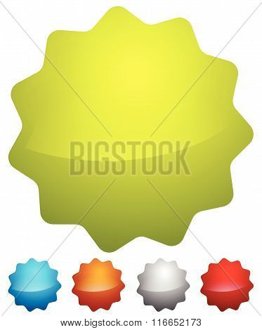 Badge, Starburst Shapes On White In Several Colors