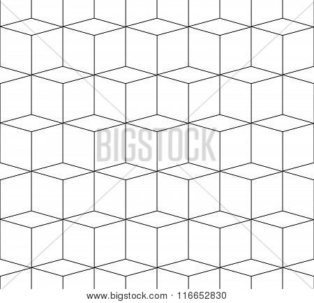 3D Cubes Spatial Seamlessly Repeatable Monochrome Pattern
