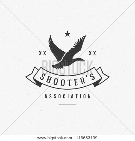 Hunting Club Logo Template. Flying Duck Silhouette Isolated On White Background. Vector object for Labels, Badges, Logos and other Design. Duck Logo, Hunter Logo, Hunting Logo, Duck Silhouette.