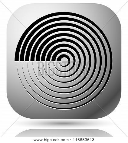Generic icon with cyclic circular concentric lines symbol poster
