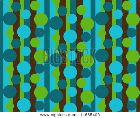 brown, green blue stripes over dots