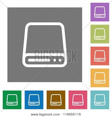 Hard Disk Square Flat Icons