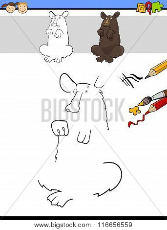 Draw And Color Task With Bear