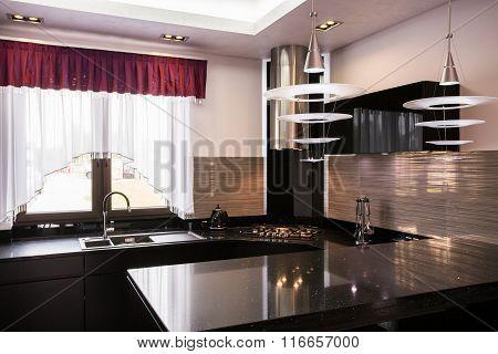 Brown Worktop In Elegant Kitchen