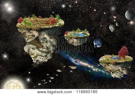 Fantasy Islands In Space
