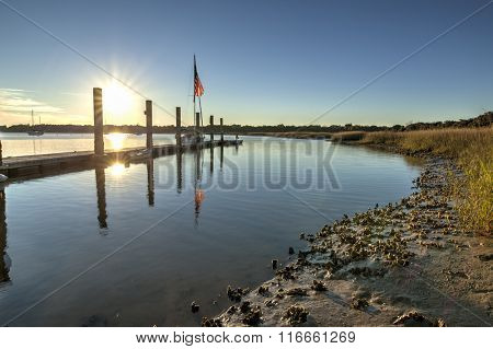 Oyster beds and boats in the harbor in Beaufort, South Carolina, hdr image