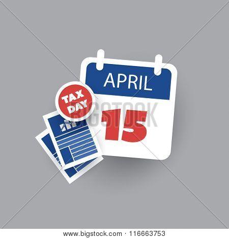 USA Tax Day Icon - Calendar Design Template