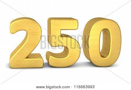 3D Number 250 Gold