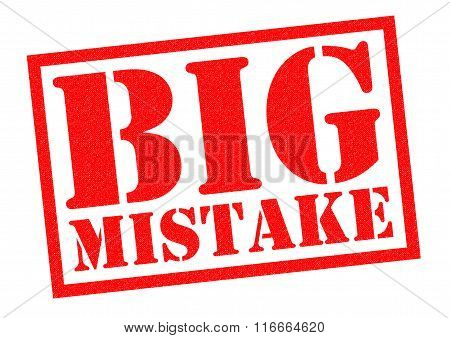 BIG MISTAKE red Rubber Stamp over a white background.
