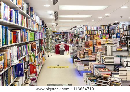 PRAGUE, CZECH REPUBLIC - SEPTEMBER 23, 2015: Interior of Dobrovsky bookstore located on Wenceslas Square - one of largest networks specializing in books sales with 24 stores throughout the country.