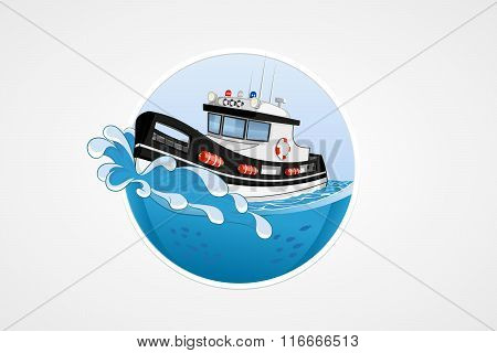 Moving Speed Police Boat. Deep Sea With Wave. Round Vector Computer Icons For Applications Or Games.