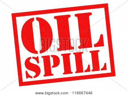 OIL SPILL red Rubber Stamp over a white background.