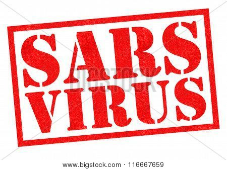 SARS VIRUS red Rubber Stamp over a white background.