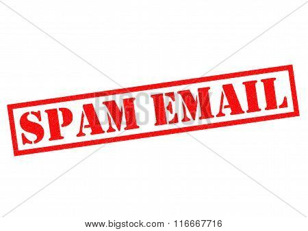 SPAM EMAIL red Rubber Stamp over a white background.