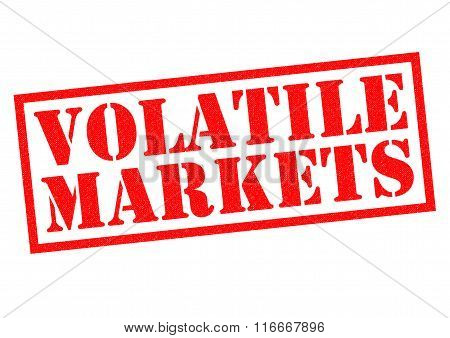 VOLATILE MARKETS red Rubber Stamp over a white background. poster