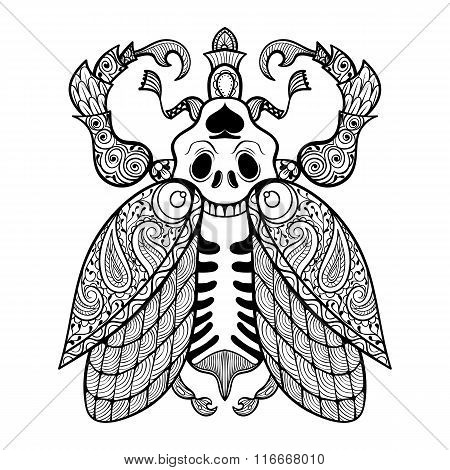 Coloring page of Bug with skull, zentangle illustartion tribal t